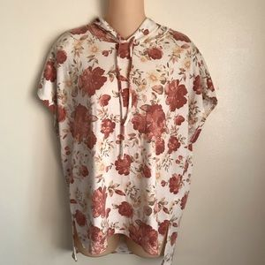 Floral hooded t shirt Large